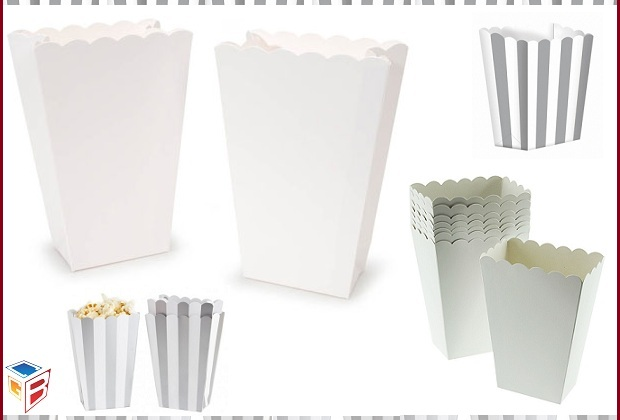 White Popcorn Boxes Ideal for packaging various items ...